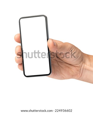 Blank mobile holding hand - stock photo