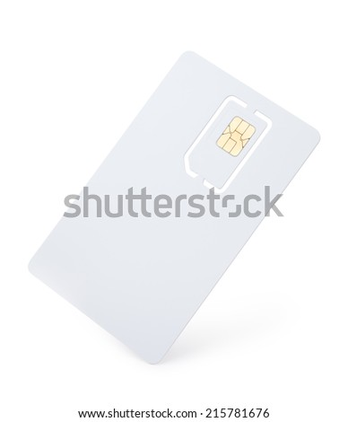Blank mobile phone sim card isolated on white - stock photo