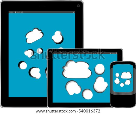 Blank mobile smart phone and digital tablet pc with cloud on the screen