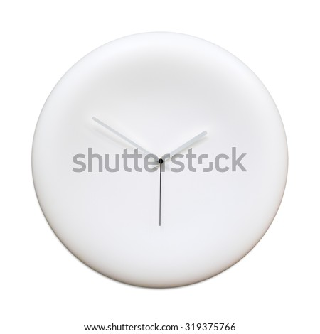 Blank modern analog clock with arrows isolated on white background. Time concept. Clipping path. - stock photo