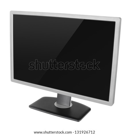Blank modern computer display isolated on white background with clipping path - stock photo
