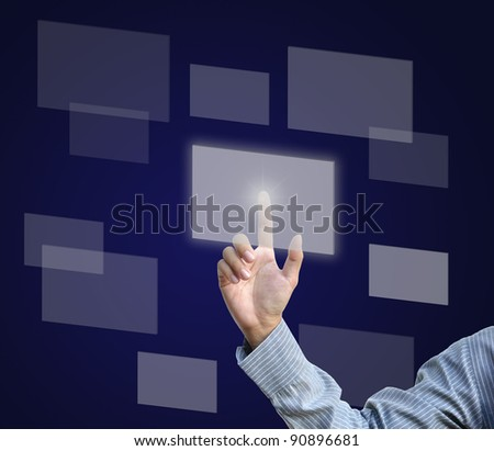 blank modern touch screen with business person. - stock photo