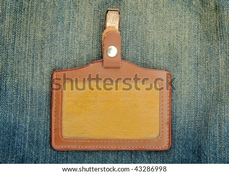 Blank name Leather badge - stock photo