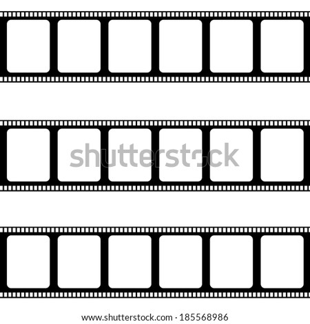 Blank negative film strips isolated on white - stock photo