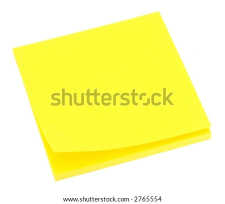 Blank neon yellow memo pad isolated on white. - stock photo