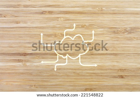 blank network chart on wood background for your ideas - stock photo