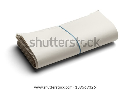 Blank News Paper with Copy Space Isolated on White Background. - stock photo