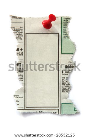 Blank newspaper classified ad, ready for your message.  Fastened with red push pin. - stock photo
