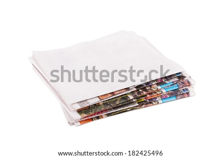 Blank newspaper, isolated on white background. - stock photo