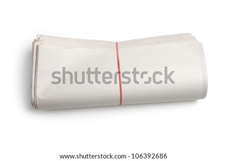 Blank Newspaper Roll with white background - stock photo