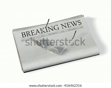 blank newspaper with the headline - Breaking News - 3d rendering