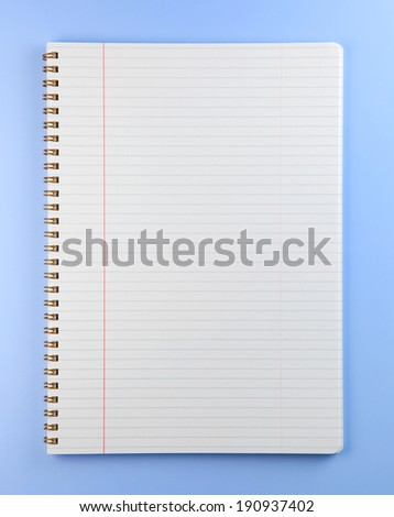 Blank note book isolated on presentation blue background.  - stock photo