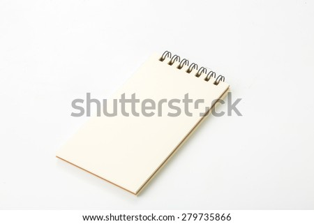 Blank note book on white background. - stock photo