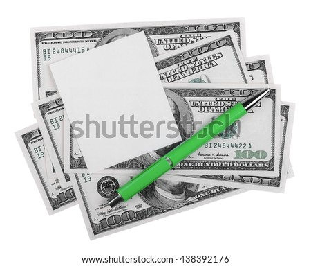 blank note book page and money, 100 one hundred dollars and pencil, isolated on white background, with clipping path - stock photo