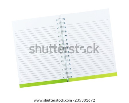 Blank note book with ring binder holes isolated on white. - stock photo