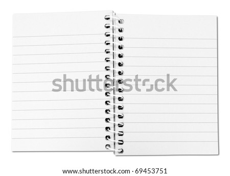 Blank note book with three ring binder holes isolated on white background - stock photo