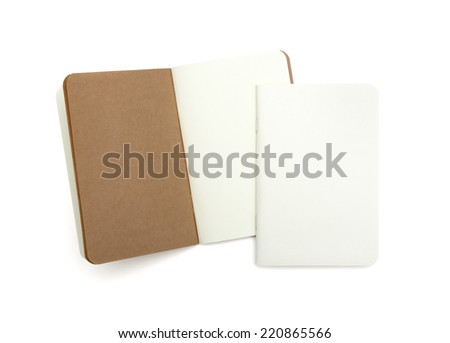 blank note books - soft pages texture - isolated on white - stock photo