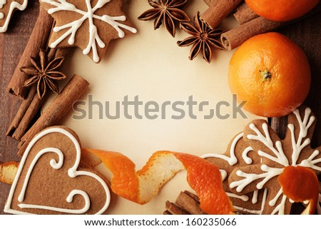 Blank note for recipes of christmas cookies or christmas greeting card  - stock photo