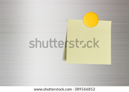 Blank note on a fridge door, copy space for leaving several messages i.e. reminder, plan, lists, memory, orders, sweet words, sweet poems, short notes, to do lists, info, notice, idea, ad, memo, etc - stock photo