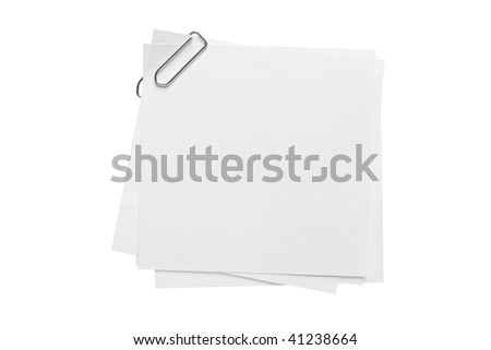 Blank note paper and paper-clip isolated on white background - stock photo