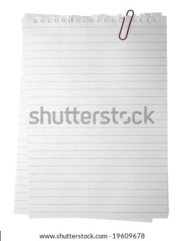 Blank note paper and red paper-clip. Isolated with clipping path. - stock photo