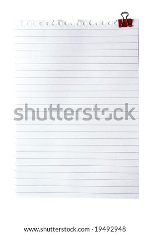 Blank note paper with clinch isolated od white. Clipping Path.