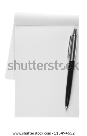 Blank note paper with pen. isolated on white. - stock photo
