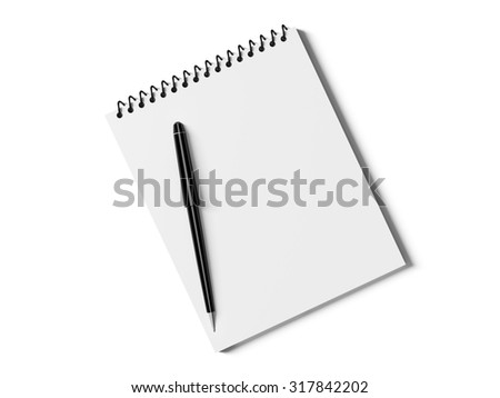 Blank note paper with pen. isolated on white, business object. - stock photo