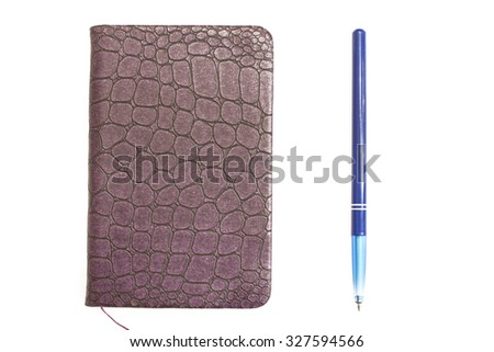 Blank note paper with pen. isolated on white.Notepad and pen,office supplies,white background,notebook - stock photo
