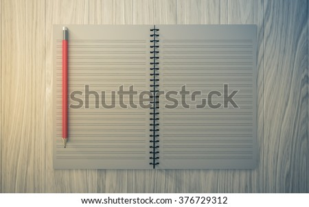 Blank note paper with pencil. on wood background, business object.