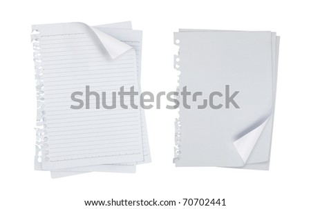 blank note white paper over white background. each shot separately - stock photo