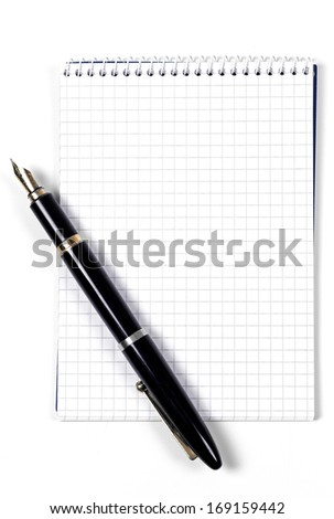 Blank notebook and pen - stock photo