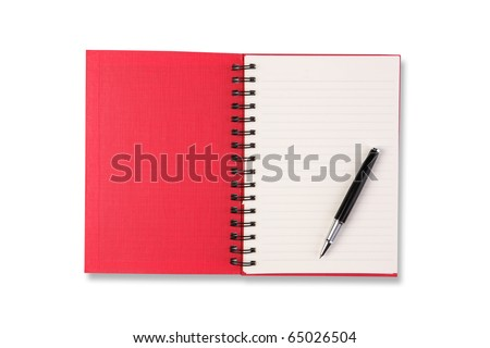 Blank notebook and pen. Isolated on white. - stock photo