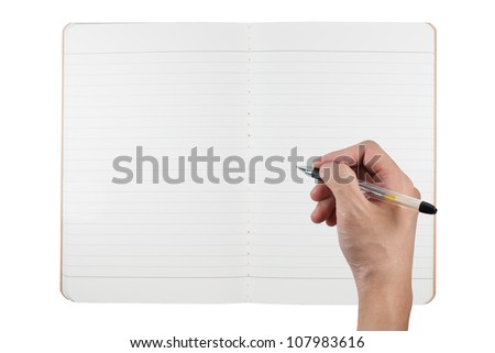 blank notebook from recycle paper with hand holding pen isolated on white background - stock photo