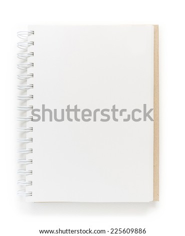 Blank notebook isolated on white background. - stock photo