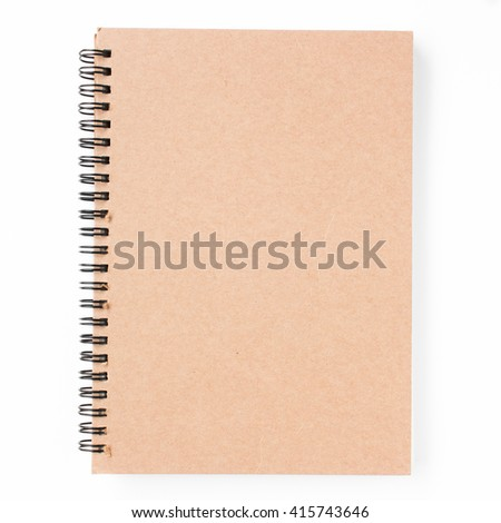 Blank notebook isolated on white / Blank book with cover isolated on white background  - stock photo