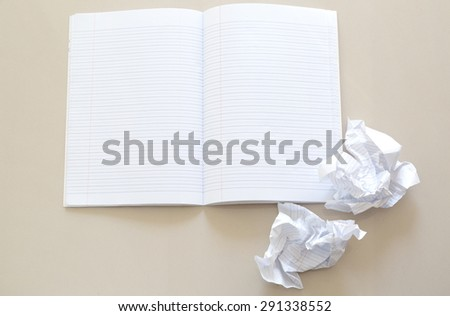 blank notebook on gray table, business concept. - stock photo