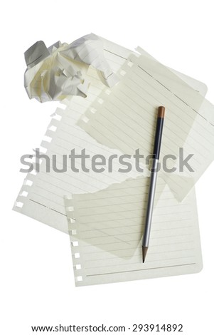 blank notebook paper and pencil on white background