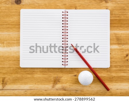 Blank notebook, pencil and golf ball  - stock photo