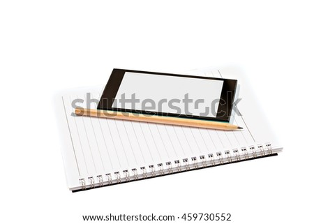 Blank notebook, smartphones and pencil isolated on white background