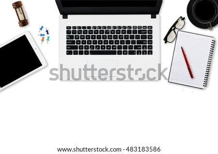 Blank notebook with laptop and smartphone,notepad, cup coffee on white background copy space