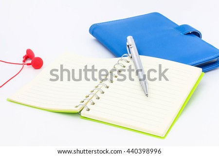 Blank notebook with pen texture background for your design, business concept - stock photo