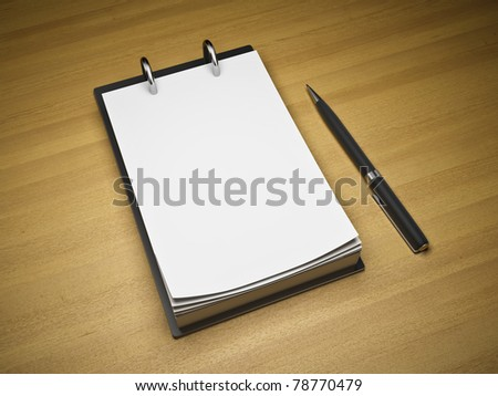Blank notepad with pen on wooden background - stock photo