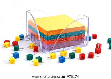 Blank notes and pushpins - stock photo