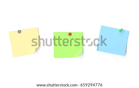Blank notes isolated on white background. 3d image