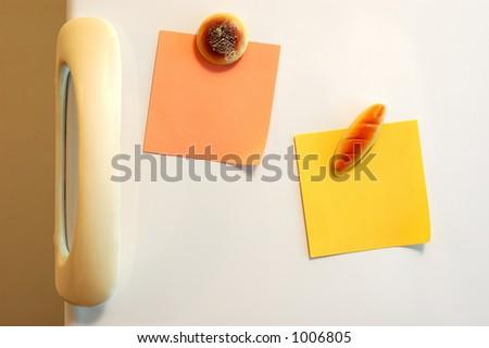 Blank notes on fridge. See portfolio for more - stock photo