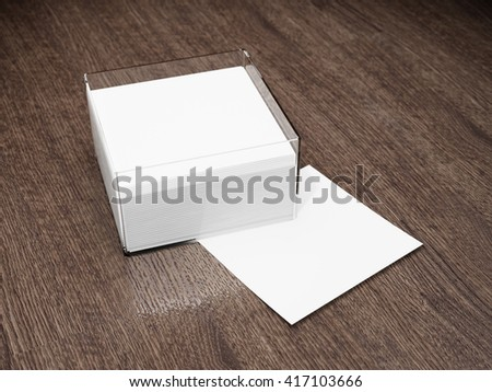 Blank notes with glass holder on wooden table. 3D illustration. - stock photo