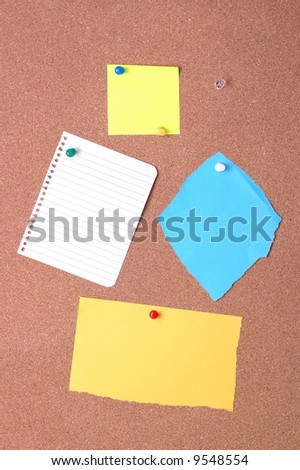 Blank notices on cork noticeboard ready for text to be added.