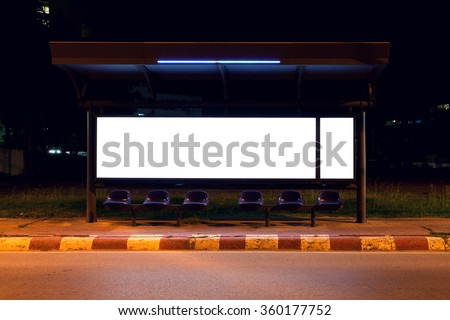 blank of billboards at bus stop side road in night - stock photo