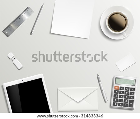 Blank office desk background. Stock image. - stock photo